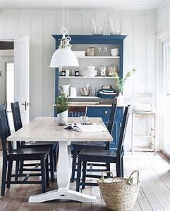 White, And, Blue, Country, Dining, Room