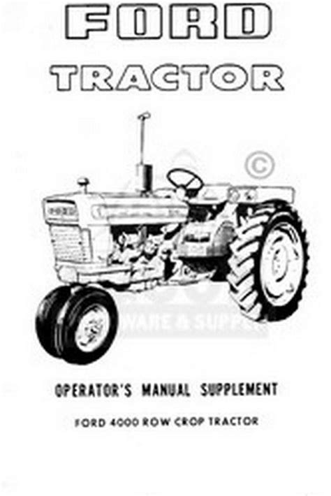 ford  row crop tractor operators manual supplement ebay
