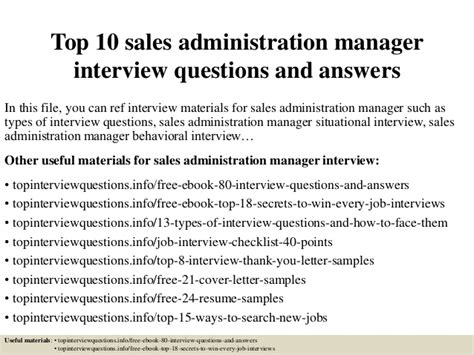 Questions For Production Manager And Answers by Top 10 Sales Administration Manager Questions