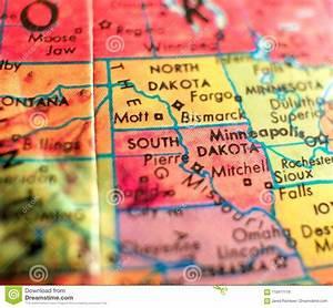 State Of South Dakota, USA Focus Macro Shot On Globe Map ...