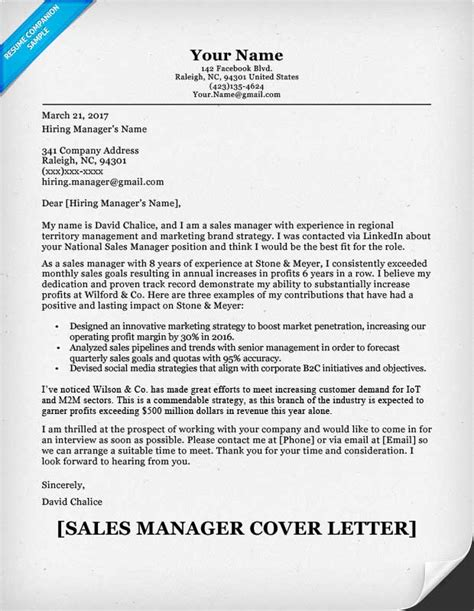Free Sles Of Resumes And Cover Letters by Sales Manager Cover Letter Sle Resume Companion