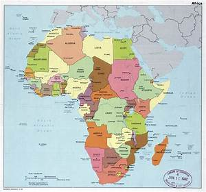 Large political map of Africa with major cities and ...