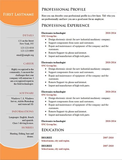 Simple Professional Resume Template by 70 Basic Resume Templates Pdf Doc Psd Free