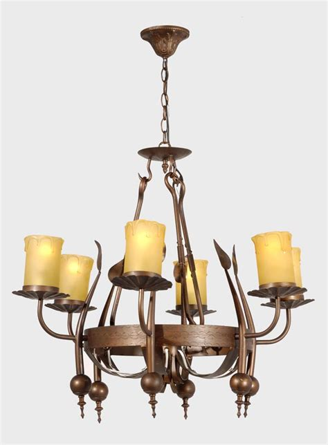 iron 6 light fixture w antique brass finish 69802 b p