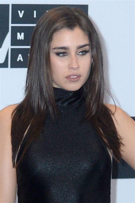 lauren jauregui straight dark brown angled hairstyle