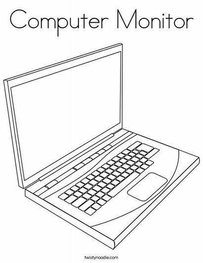 Computer Coloring Monitor Drawing Laptop Writes Words