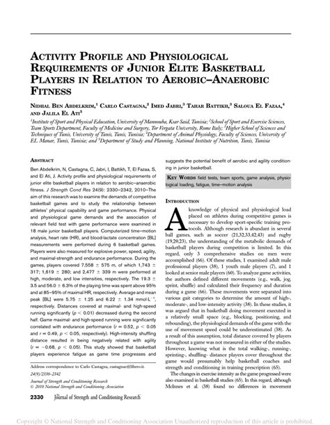 activity profile  physiological requirements