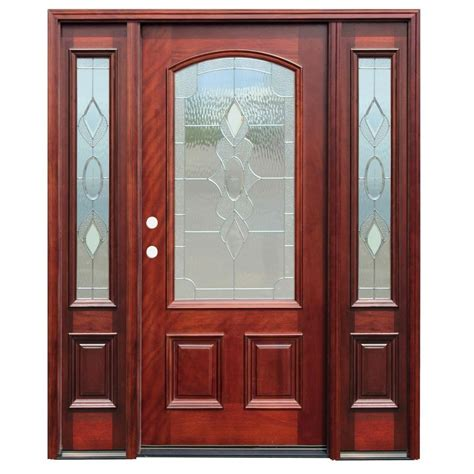 wood front doors with glass pacific entries 70in x80in traditional 3 4 arch lite