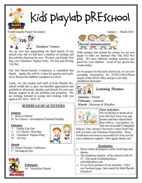 daycare newsletter templates 13 printable preschool newsletter templates free word pdf format free premium