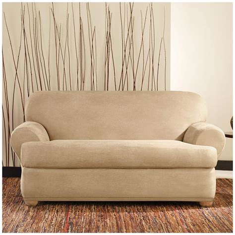 Leather Loveseat Slipcover by Sure Fit 174 Stretch Leather 2 Pc T Loveseat Slipcover