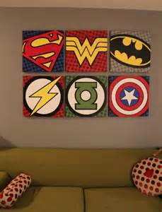paint logos on posterboard batman wonder woman superman