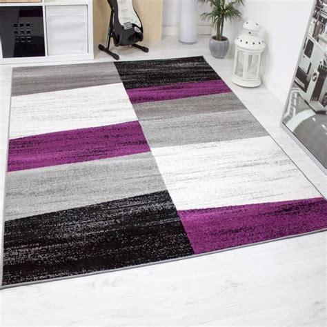 tapis de salon geometriques violet gris blanc  noir