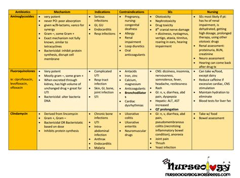 printable drug cards antibiotics nurseology blog
