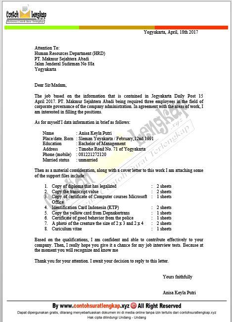 Surat Lamaran Kerja Bahasa Inggris Singkat by 7 Contoh Surat Lamaran Kerja Bahasa Inggris Dan Artinya Doc