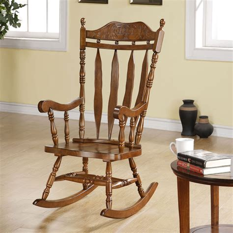 monarch walnut 45h in solid wood rocking chair