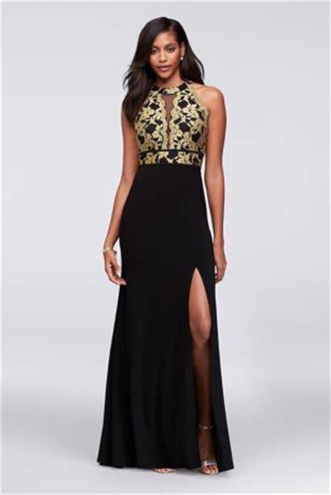 glitter lace  jersey high neck   gown davids bridal
