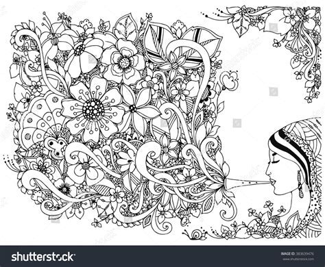 Vector Illustration Zentangl Woman, Girl And Flute With