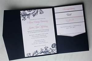 Pink and navy blue floral print pocketfold wedding for Booklet pocketfold wedding invitations