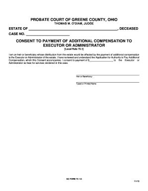 free printable executor of estate form consent to payment of additional compensation to executor