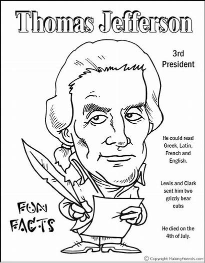 Coloring Jefferson Thomas Pages Presidents Edison Worksheets