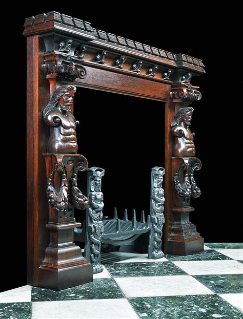 jacobean style carved oak antique fireplace and an antique jacobean style oak caryatid fireplace surround