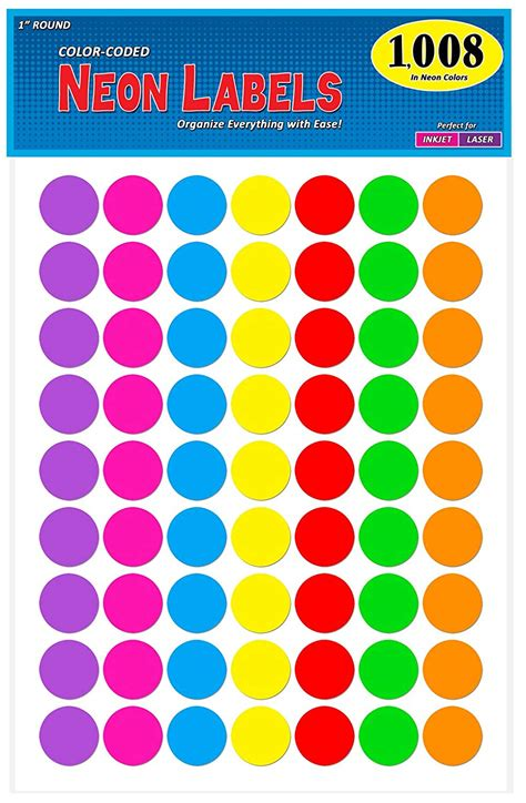 colored circle stickers pack of 1008 1 inch diameter color coding dot labels