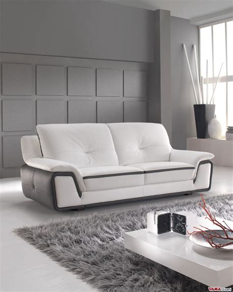 Sofas Contemporary by Contemporary Sofa In White And Grey Genuine Leather