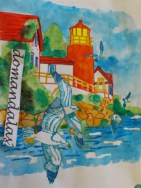tutorial watercolor marine landscape  domandalas