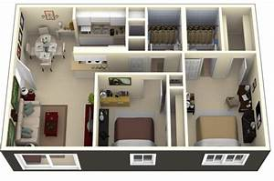 50 Plans 3D d'appartement avec 2 chambres