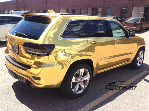 jeep grand cherokee vinyl wrap gold chrome jeep grand cherokee srt8 vehicle