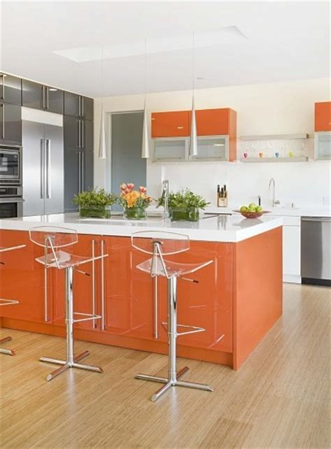cuisine en orange deco cuisine orange blanc