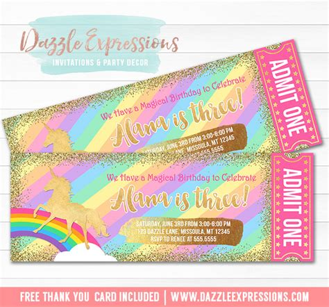 printable rainbow unicorn gold glitter ticket birthday