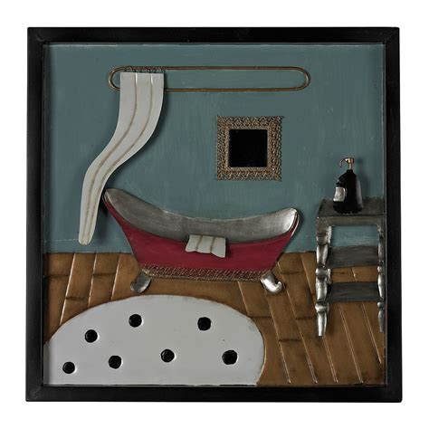 Wall decor bathroom help in the organization of things, they are also key in making your space cozier as well as adding exquisite contrast and pattern. Sterling ''Bathroom Scene'' Framed Metal Wall Decor