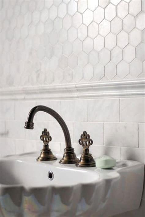 white hexagon bathroom tile ideas  pictures