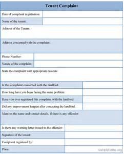 Tenant complaint form, sample Tenant complaint form