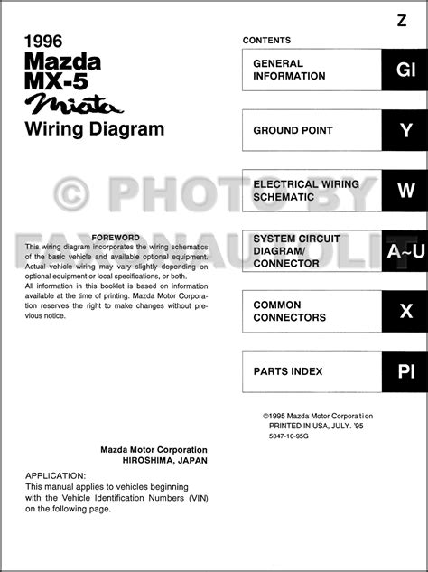 1996 mazda mx 5 miata wiring diagram manual original