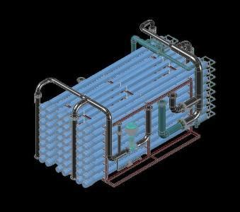 skid reverse osmosis water treatment sea  dwg model