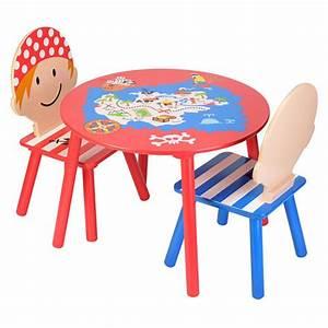 Table Et Chaise Pour Bébé : table ronde en bois peint enfant pirates la chaise longue decoclico ~ Farleysfitness.com Idées de Décoration