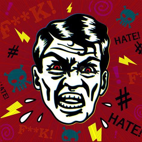 grumpy angry  man face stock illustration