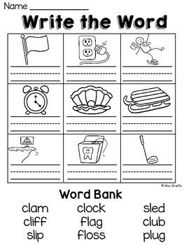 L Blends Worksheets and Activities by Miss Giraffe | TpT
