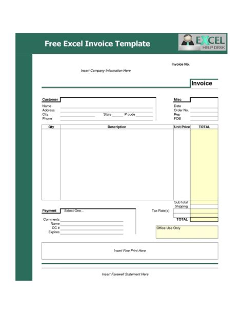 Invoice Template Invoice Template Free Excel Invoice Template Ideas
