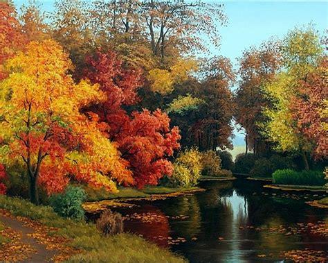 adorable autumn forest pond desktop pc  mac
