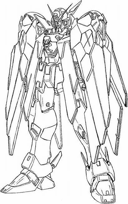 Gundam Coloring Lineart Sketches Concept