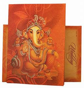 designer hindu wedding invitation in orange with ganesha image With hindu wedding invitations with ganesh