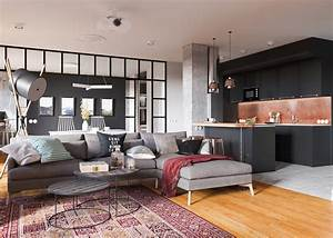 Minimalist, Studio, Apartment, Design, Applied, With, A, Gray, And, Wooden, Decor, Ideas, Which, Very