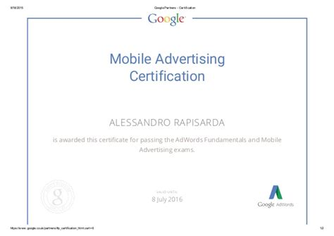 Adwords Certification by Adwords Mobile Advertising Certification 2015