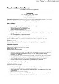 recruitment consultant resume recruitment consultant resume sle resumes design
