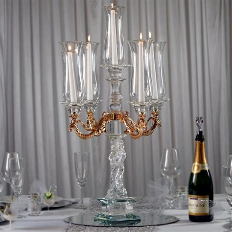30 Tall Handcrafted 5 Gold Arm Crystal Glass Table Top