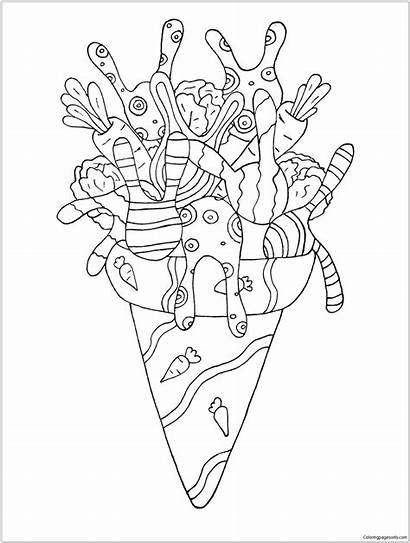 Coloring Cream Ice Pages Desserts Colouring Rabbit