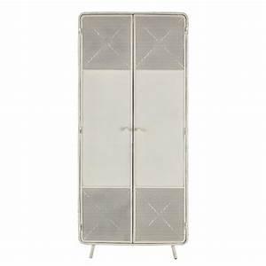 Tv 80 Cm Blanche : armoire en m tal blanche l 80 cm knokke maisons du monde ~ Teatrodelosmanantiales.com Idées de Décoration
